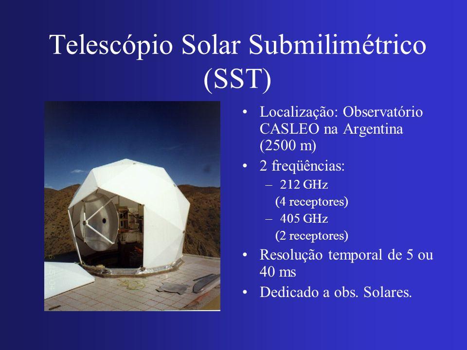 Telescópio Solar Submilimétrico (SST) Localização: Observatório CASLEO na Argentina (2500 m) 2 freqüências: –212 GHz (4 receptores) –405 GHz (2 recept