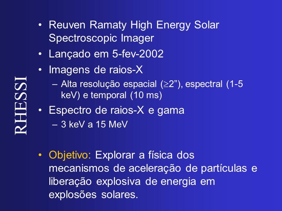 RHESSI Reuven Ramaty High Energy Solar Spectroscopic Imager Lançado em 5-fev-2002 Imagens de raios-X –Alta resolução espacial ( 2), espectral (1-5 keV