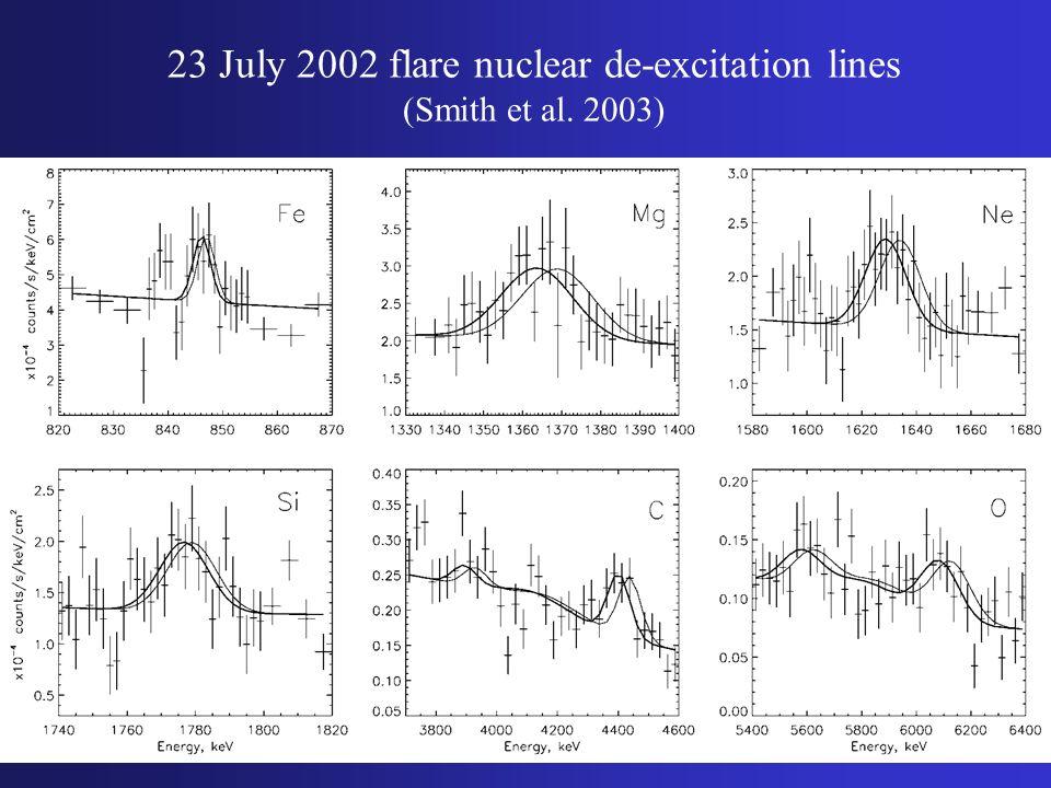 23 July 2002 flare nuclear de-excitation lines (Smith et al. 2003)