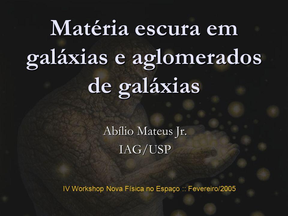 IV Workshop Nova Física no Espaço :: Fevereiro/2005 Matéria escura em galáxias e aglomerados de galáxias Abílio Mateus Jr.