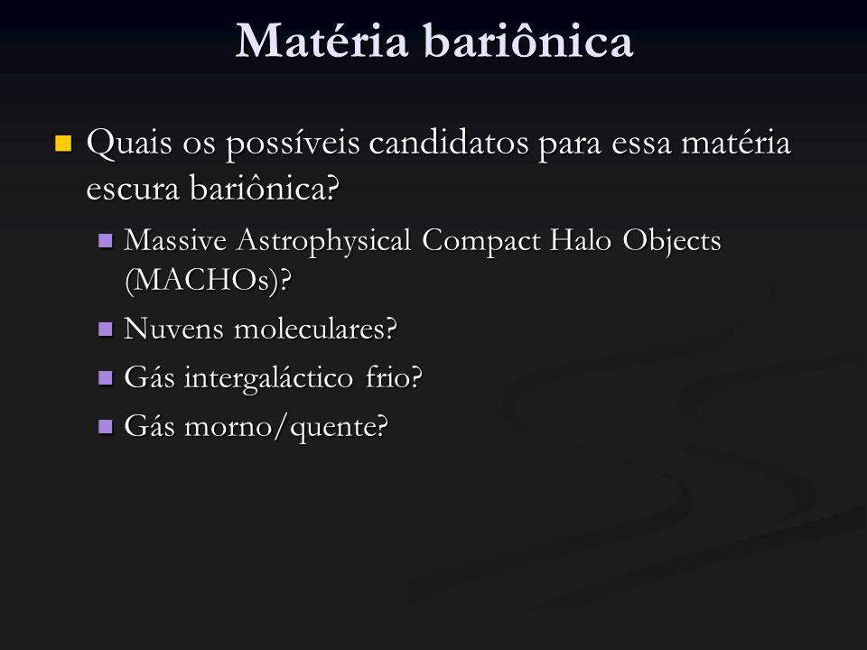 Matéria bariônica Quais os possíveis candidatos para essa matéria escura bariônica.