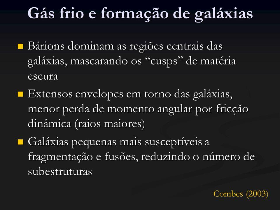 Gás frio e formação de galáxias Bárions dominam as regiões centrais das galáxias, mascarando os cusps de matéria escura Bárions dominam as regiões centrais das galáxias, mascarando os cusps de matéria escura Extensos envelopes em torno das galáxias, menor perda de momento angular por fricção dinâmica (raios maiores) Extensos envelopes em torno das galáxias, menor perda de momento angular por fricção dinâmica (raios maiores) Galáxias pequenas mais susceptíveis a fragmentação e fusões, reduzindo o número de subestruturas Galáxias pequenas mais susceptíveis a fragmentação e fusões, reduzindo o número de subestruturas Combes (2003)