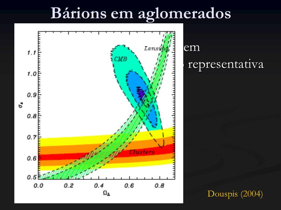 Bárions em aglomerados Em geral, a fração bariônica em aglomerados é tomada como representativa do Universo Em geral, a fração bariônica em aglomerados é tomada como representativa do Universo Porém...
