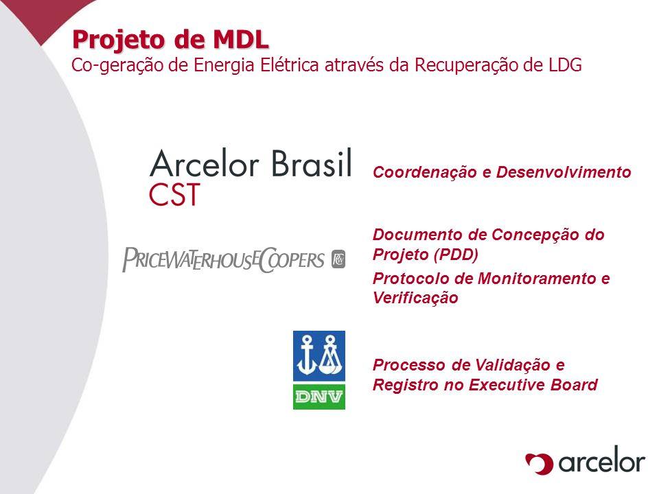 Projeto de MDL Projeto de MDL Co-geração de Energia Elétrica através da Recuperação de LDG Processo de Validação e Registro no Executive Board Coorden
