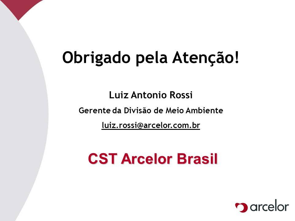 Obrigado pela Atenção! Luiz Antonio Rossi Gerente da Divisão de Meio Ambiente luiz.rossi@arcelor.com.br CST Arcelor Brasil