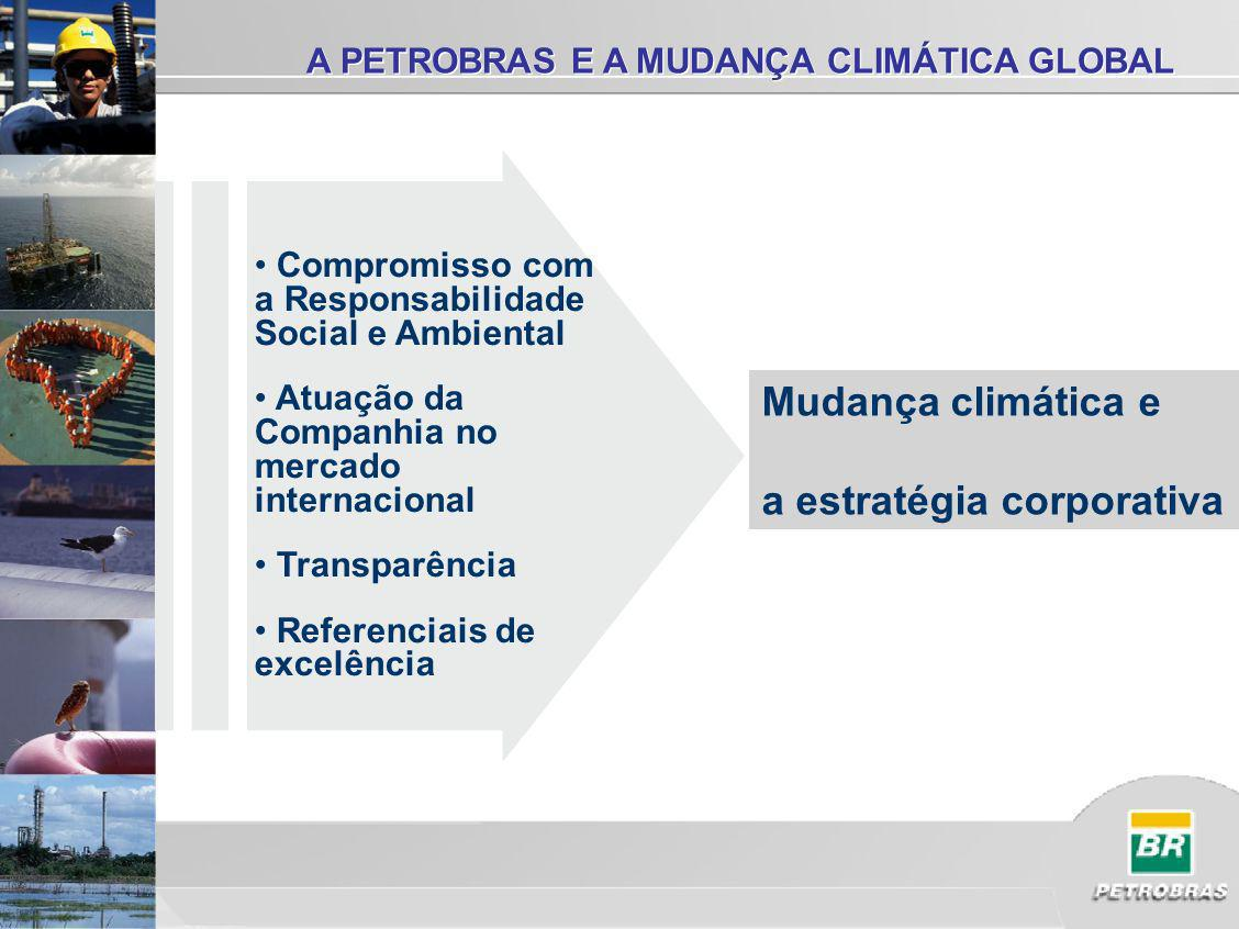 A PETROBRAS E A MUDANÇA CLIMÁTICA GLOBAL Compromisso com a Responsabilidade Social e Ambiental Atuação da Companhia no mercado internacional Transparência Referenciais de excelência Mudança climática e a estratégia corporativa