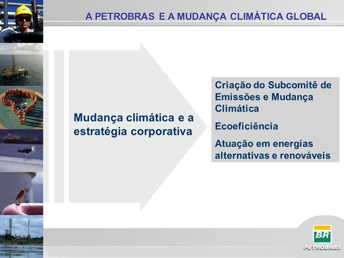 Criação do Subcomitê de Emissões e Mudança Climática Ecoeficiência Atuação em energias alternativas e renováveis A PETROBRAS E A MUDANÇA CLIMÁTICA GLOBAL Mudança climática e a estratégia corporativa