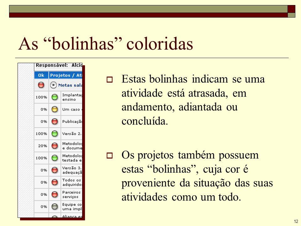 12 As bolinhas coloridas Estas bolinhas indicam se uma atividade está atrasada, em andamento, adiantada ou concluída.