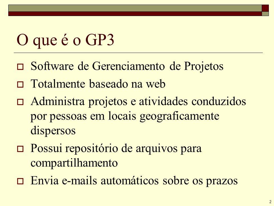 2 O que é o GP3 Software de Gerenciamento de Projetos Totalmente baseado na web Administra projetos e atividades conduzidos por pessoas em locais geograficamente dispersos Possui repositório de arquivos para compartilhamento Envia e-mails automáticos sobre os prazos