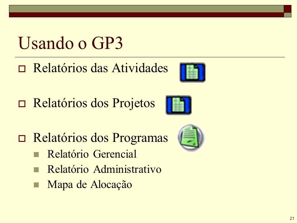 21 Usando o GP3 Relatórios das Atividades Relatórios dos Projetos Relatórios dos Programas Relatório Gerencial Relatório Administrativo Mapa de Alocação