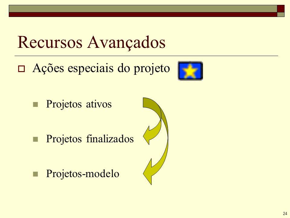 24 Recursos Avançados Ações especiais do projeto Projetos ativos Projetos finalizados Projetos-modelo