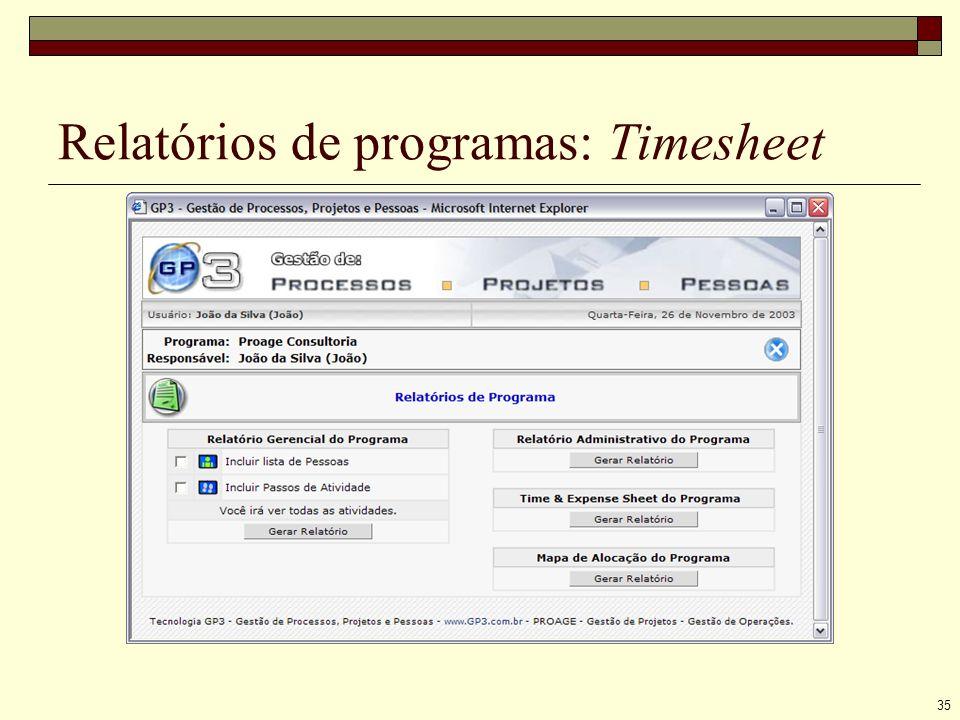 35 Relatórios de programas: Timesheet