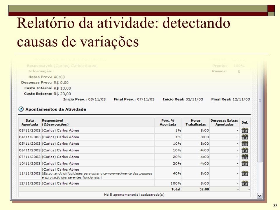 38 Relatório da atividade: detectando causas de variações