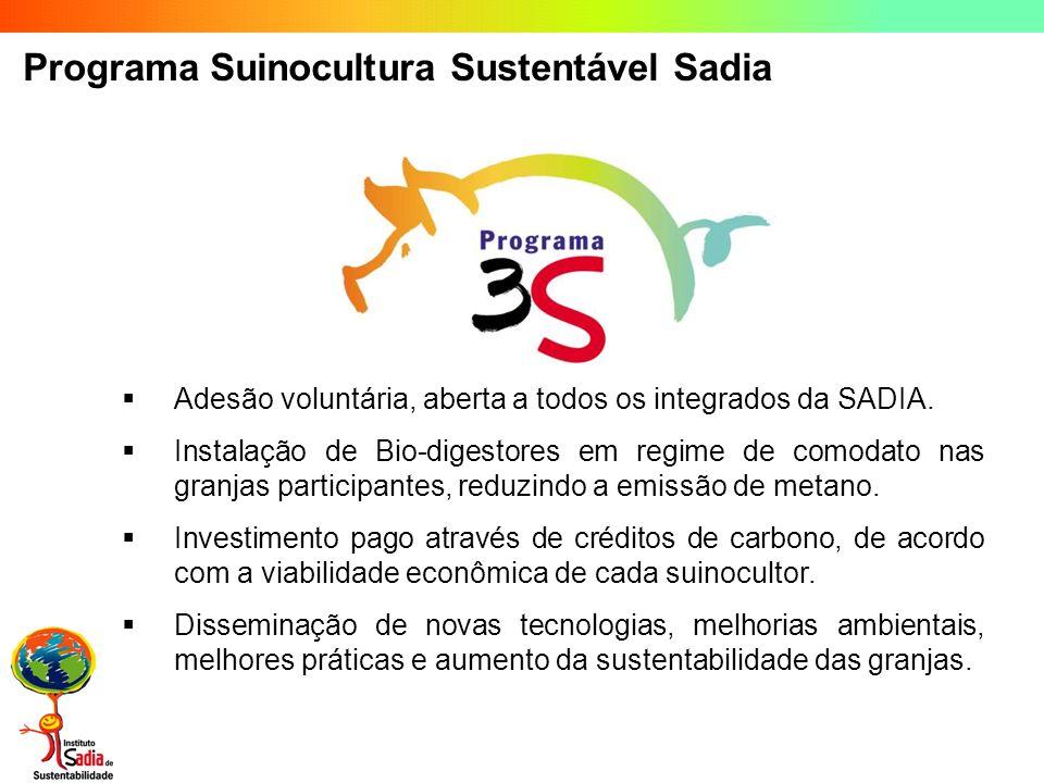 Programa Suinocultura Sustentável Sadia Adesão voluntária, aberta a todos os integrados da SADIA. Instalação de Bio-digestores em regime de comodato n