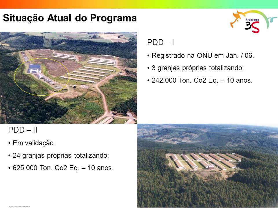 Situação Atual do Programa PDD – I Registrado na ONU em Jan. / 06. 3 granjas próprias totalizando: 242.000 Ton. Co2 Eq. – 10 anos. PDD – II Em validaç