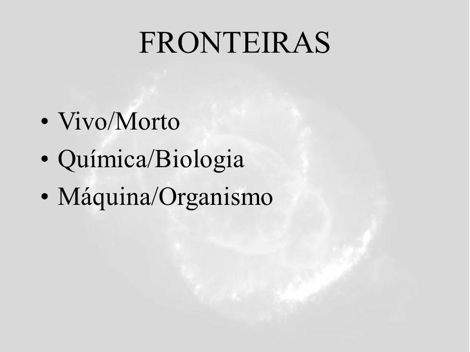 FRONTEIRAS Vivo/Morto Química/Biologia Máquina/Organismo