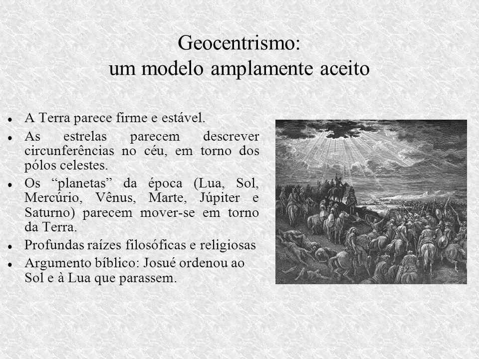 Geocentrismo: um modelo amplamente aceito A Terra parece firme e estável.