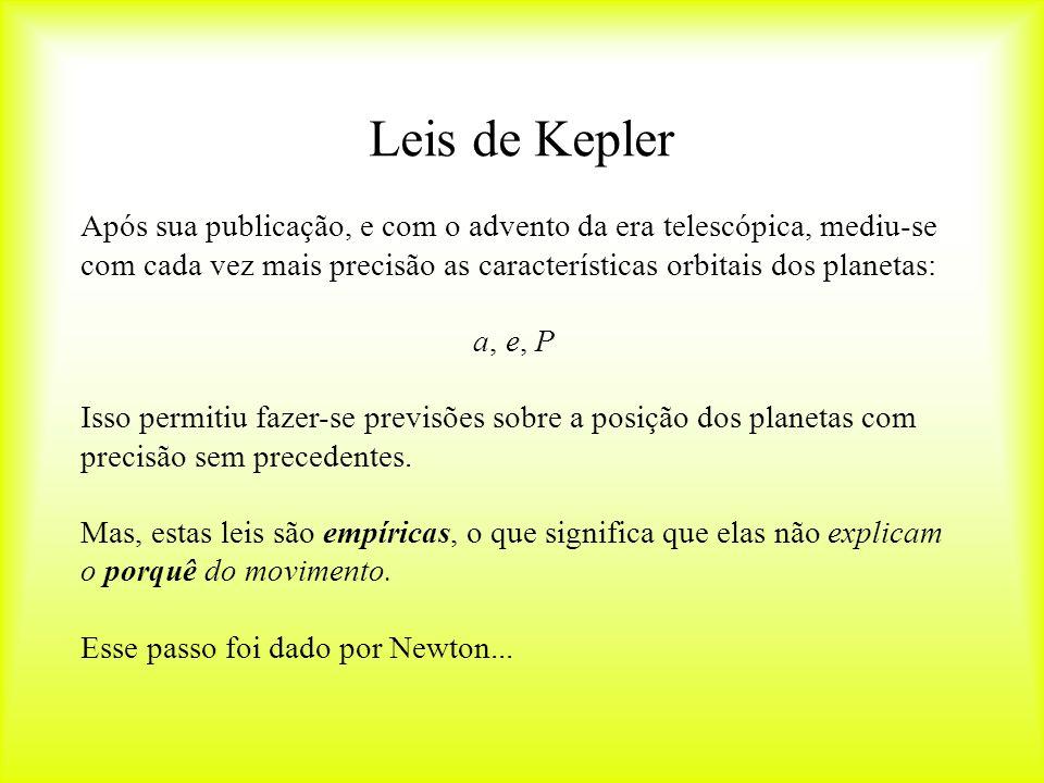Leis de Kepler Após sua publicação, e com o advento da era telescópica, mediu-se com cada vez mais precisão as características orbitais dos planetas: a, e, P Isso permitiu fazer-se previsões sobre a posição dos planetas com precisão sem precedentes.