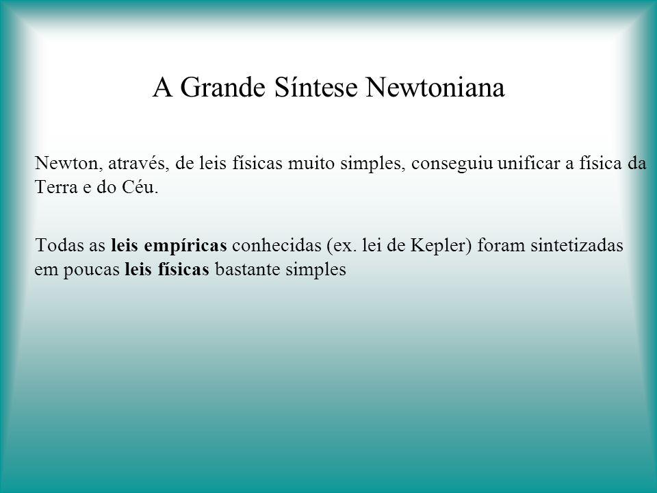 A Grande Síntese Newtoniana Newton, através, de leis físicas muito simples, conseguiu unificar a física da Terra e do Céu.