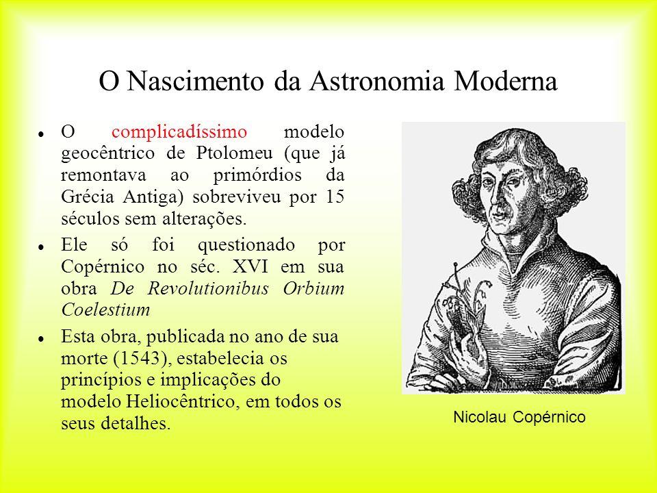 De Revolutionibus Orbium Coelestium Ingredientes: -Sol no centro do Universo -Planetas giram em torno do Sol -Lua gira em torno da Terra -Terra giram em torno de si mesma -movimentos circulares Modelo encontrou forte oposição no século seguinte à sua publicação.