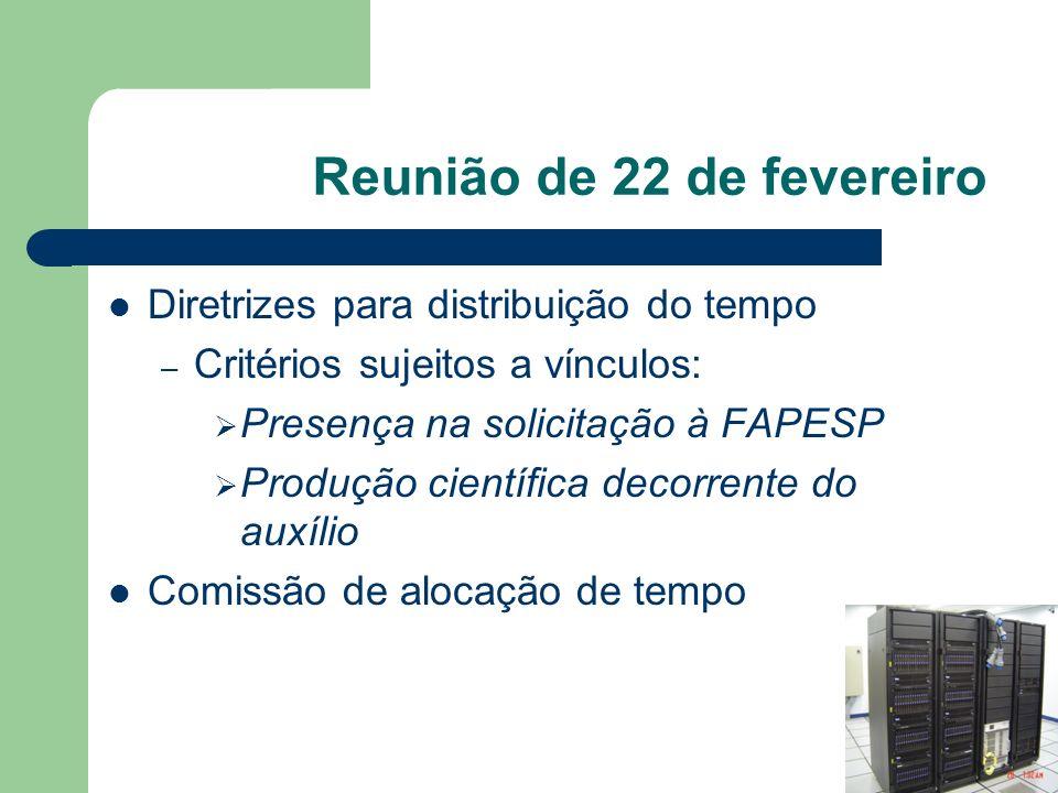 Reunião de 22 de fevereiro Diretrizes para distribuição do tempo – Critérios sujeitos a vínculos: Presença na solicitação à FAPESP Produção científica decorrente do auxílio Comissão de alocação de tempo