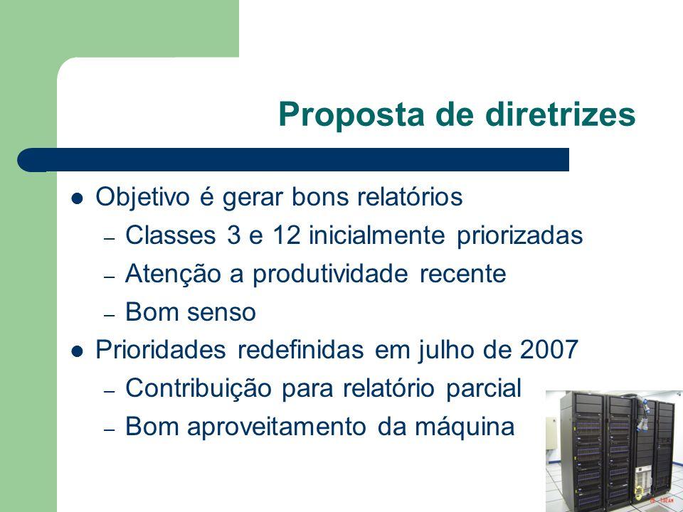 Proposta de diretrizes Objetivo é gerar bons relatórios – Classes 3 e 12 inicialmente priorizadas – Atenção a produtividade recente – Bom senso Prioridades redefinidas em julho de 2007 – Contribuição para relatório parcial – Bom aproveitamento da máquina