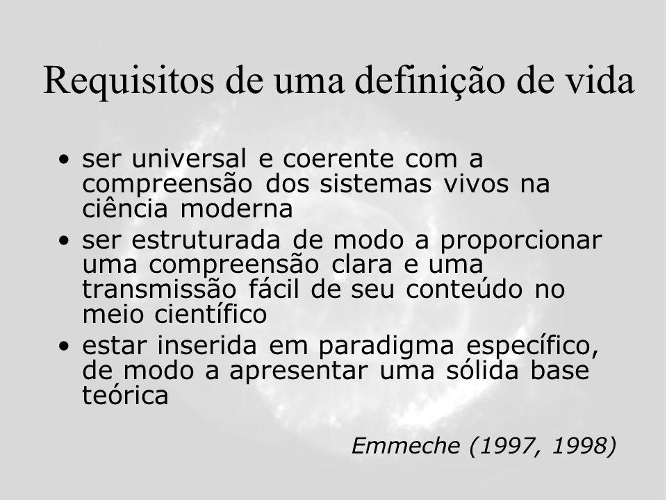 Requisitos de uma definição de vida ser universal e coerente com a compreensão dos sistemas vivos na ciência moderna ser estruturada de modo a proporcionar uma compreensão clara e uma transmissão fácil de seu conteúdo no meio científico estar inserida em paradigma específico, de modo a apresentar uma sólida base teórica Emmeche (1997, 1998)