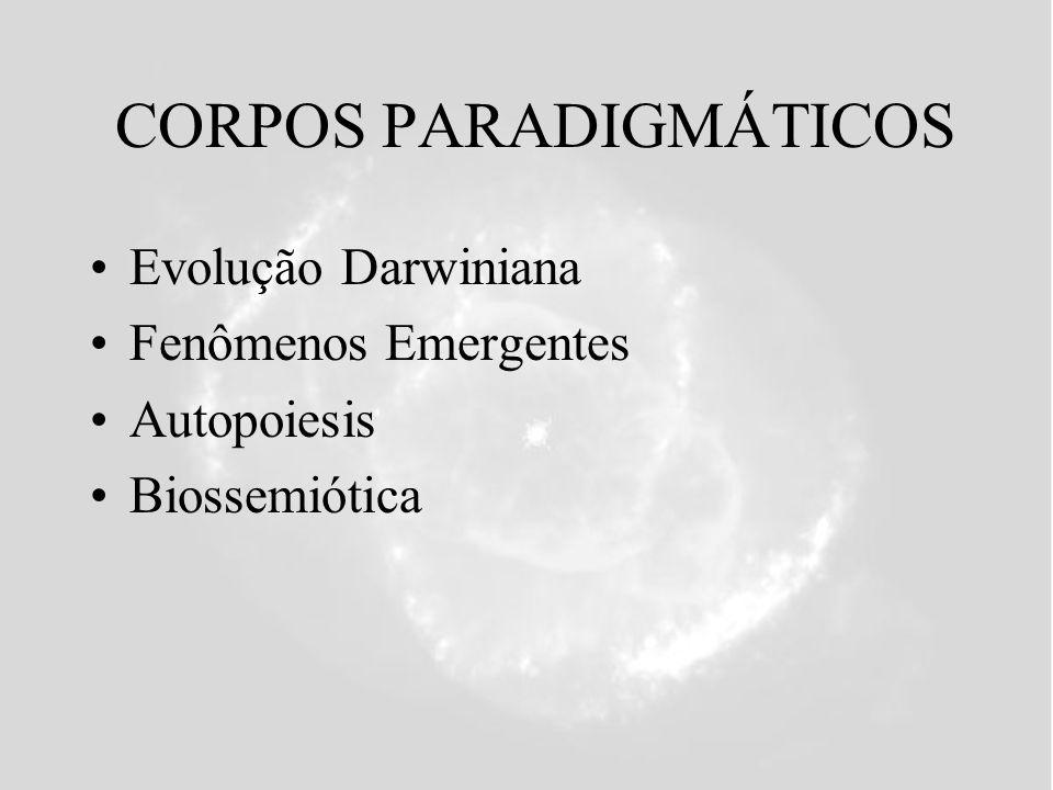 CORPOS PARADIGMÁTICOS Evolução Darwiniana Fenômenos Emergentes Autopoiesis Biossemiótica