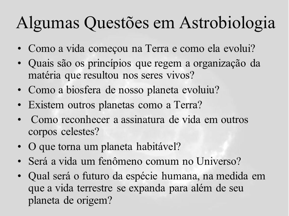 Algumas Questões em Astrobiologia Como a vida começou na Terra e como ela evolui? Quais são os princípios que regem a organização da matéria que resul