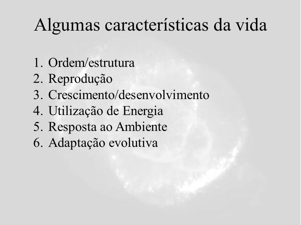 Algumas características da vida 1.Ordem/estrutura 2.Reprodução 3.Crescimento/desenvolvimento 4.Utilização de Energia 5.Resposta ao Ambiente 6.Adaptação evolutiva