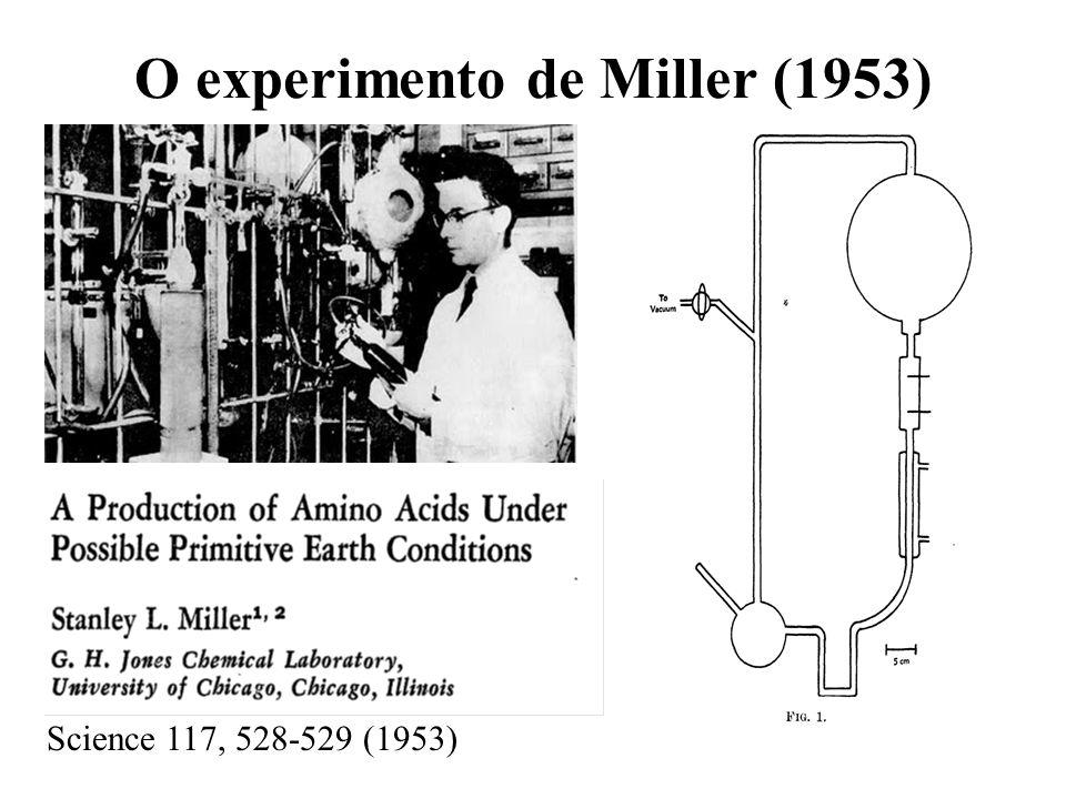 O experimento de Miller (1953) Science 117, 528-529 (1953)