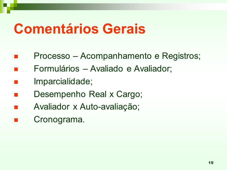 19 Comentários Gerais Processo – Acompanhamento e Registros; Formulários – Avaliado e Avaliador; Imparcialidade; Desempenho Real x Cargo; Avaliador x