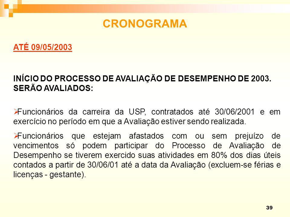 39 CRONOGRAMA ATÉ 09/05/2003 INÍCIO DO PROCESSO DE AVALIAÇÃO DE DESEMPENHO DE 2003. SERÃO AVALIADOS: Funcionários da carreira da USP, contratados até