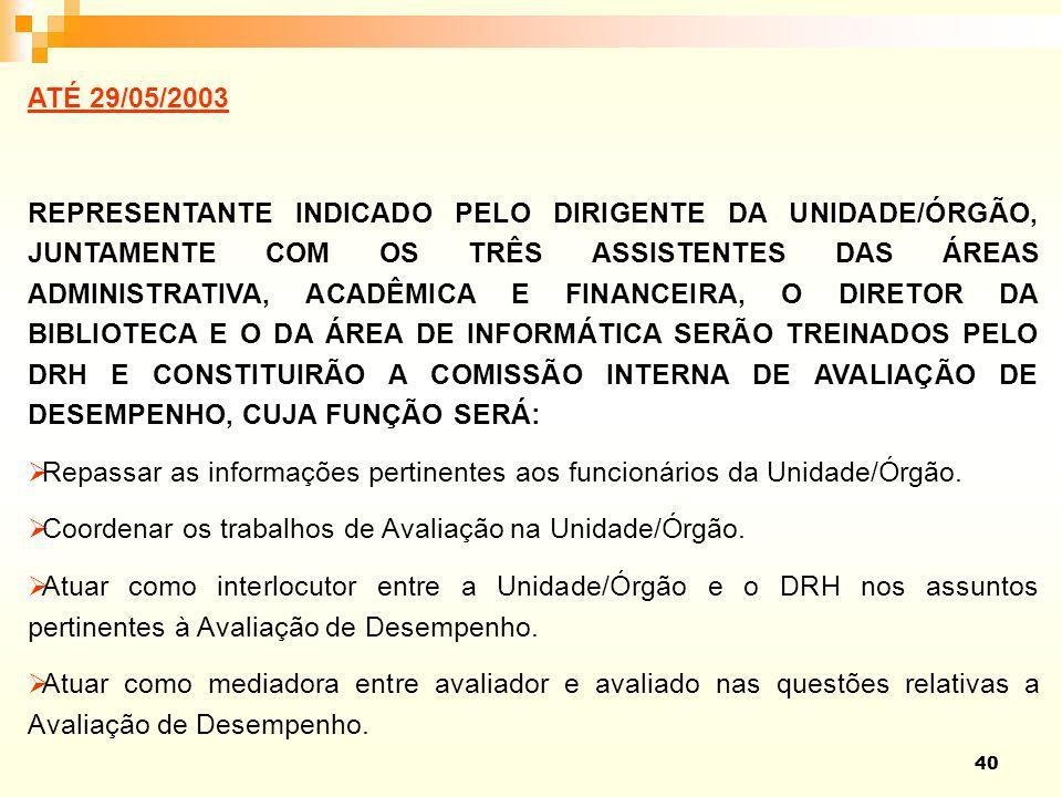 40 ATÉ 29/05/2003 REPRESENTANTE INDICADO PELO DIRIGENTE DA UNIDADE/ÓRGÃO, JUNTAMENTE COM OS TRÊS ASSISTENTES DAS ÁREAS ADMINISTRATIVA, ACADÊMICA E FIN