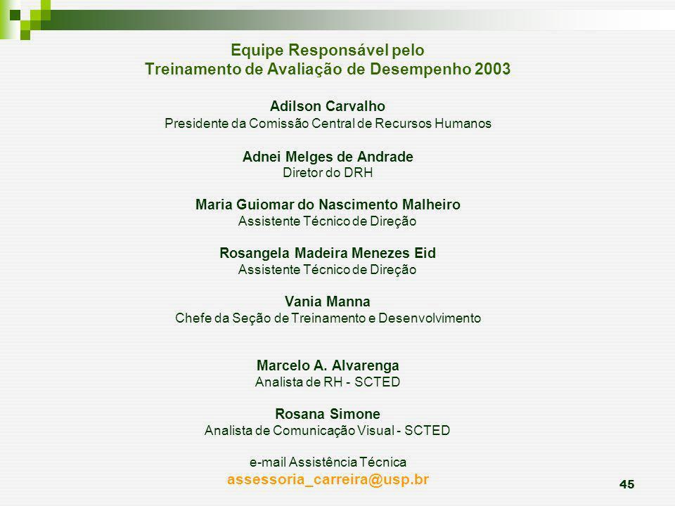 45 Equipe Responsável pelo Treinamento de Avaliação de Desempenho 2003 Adilson Carvalho Presidente da Comissão Central de Recursos Humanos Adnei Melge