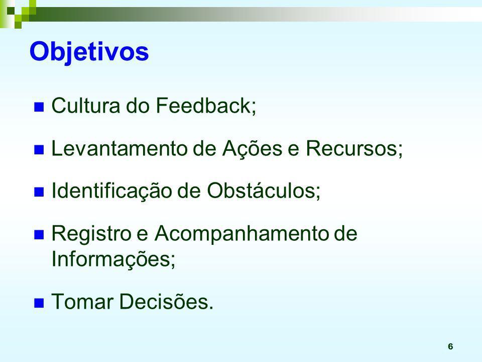 6 Objetivos Cultura do Feedback; Levantamento de Ações e Recursos; Identificação de Obstáculos; Registro e Acompanhamento de Informações; Tomar Decisõ