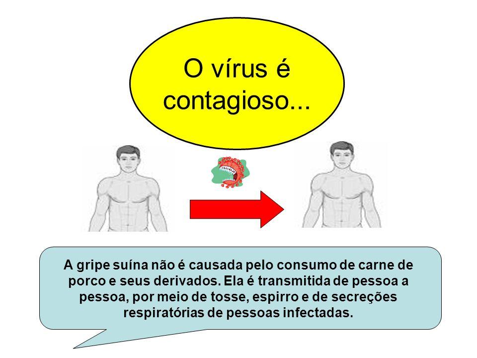 O vírus é contagioso... A gripe suína não é causada pelo consumo de carne de porco e seus derivados. Ela é transmitida de pessoa a pessoa, por meio de