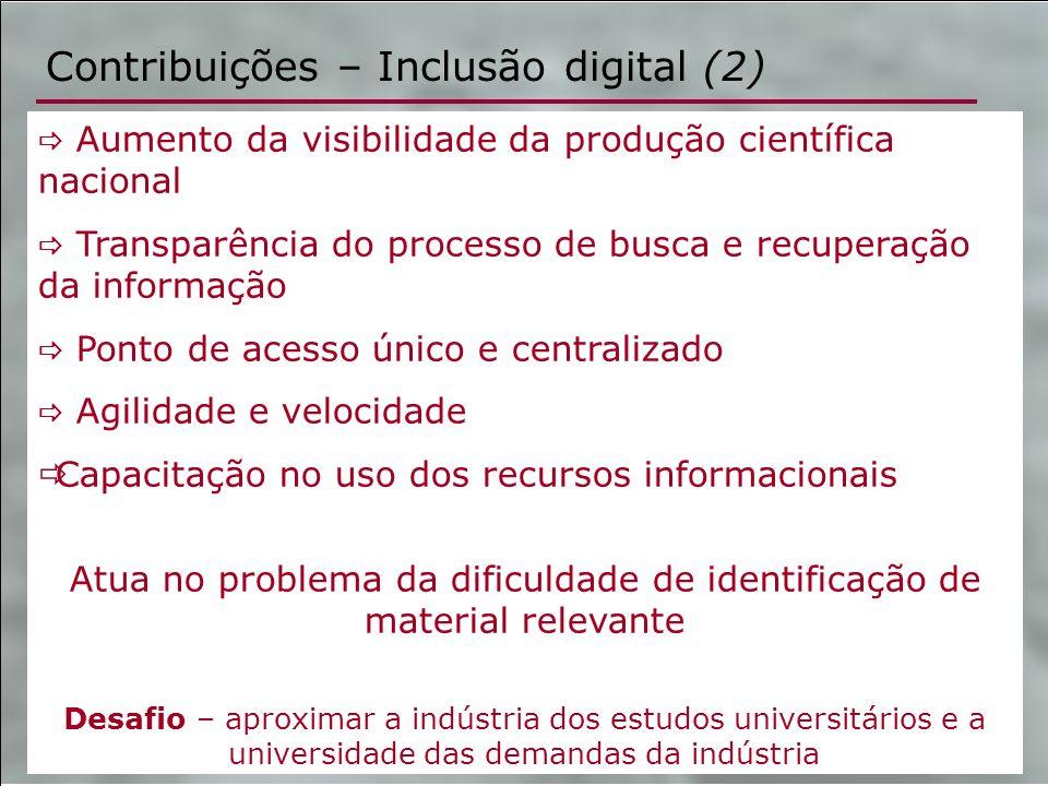 Contribuições – Inclusão digital (2) Aumento da visibilidade da produção científica nacional Transparência do processo de busca e recuperação da infor