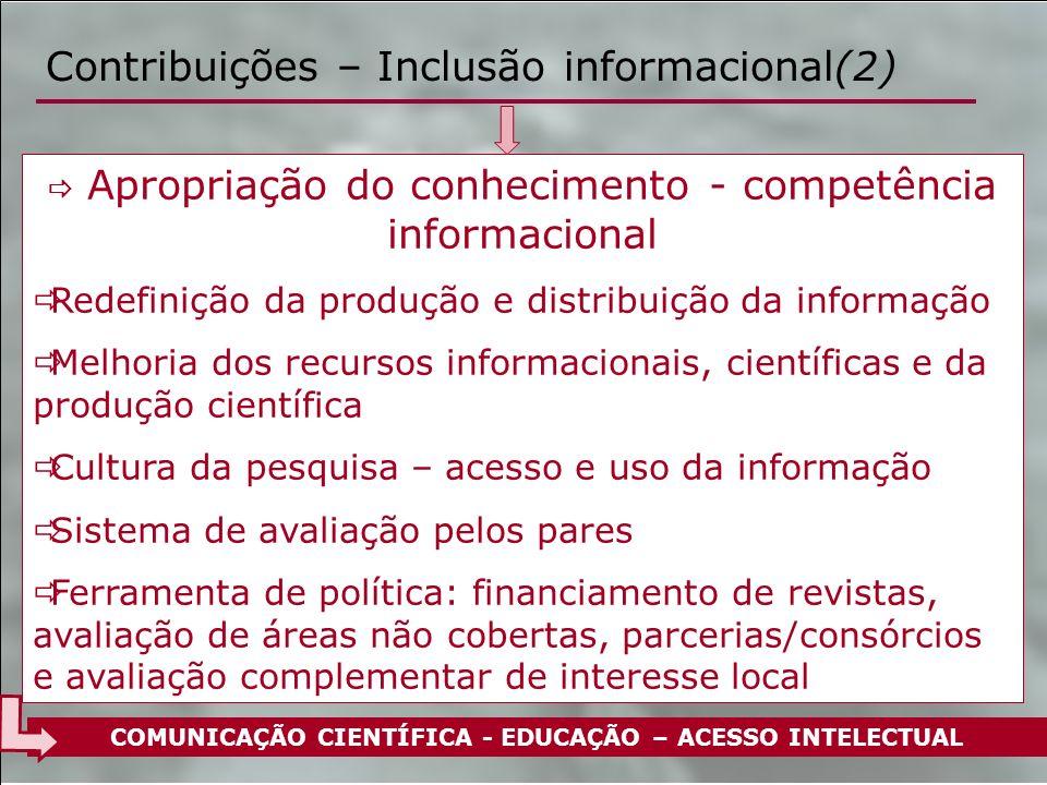 Contribuições – Inclusão informacional(2) Apropriação do conhecimento - competência informacional Redefinição da produção e distribuição da informação
