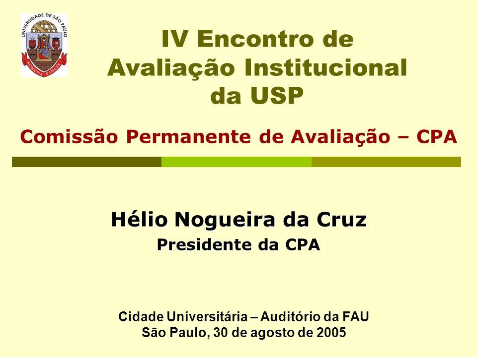 IV Encontro de Avaliação Institucional da USP Comissão Permanente de Avaliação – CPA Hélio Nogueira da Cruz Presidente da CPA Cidade Universitária – A