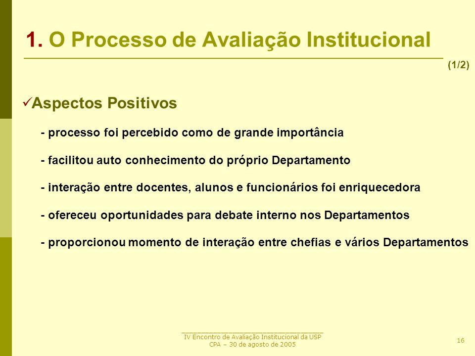_____________________________________ IV Encontro de Avaliação Institucional da USP CPA – 30 de agosto de 2005 16 1. O Processo de Avaliação Instituci