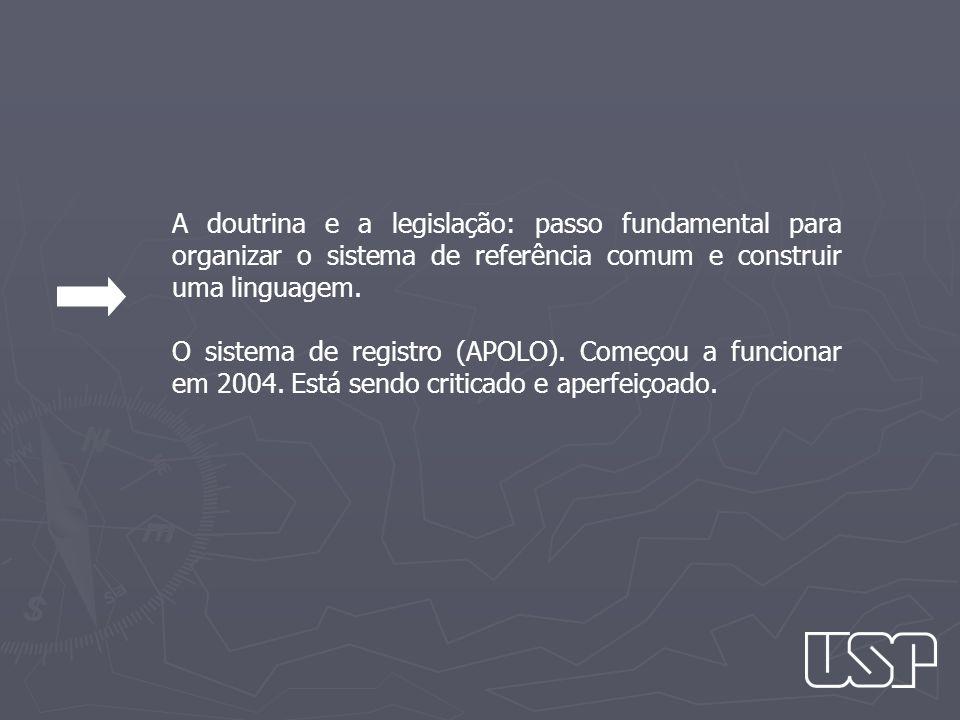 A doutrina e a legislação: passo fundamental para organizar o sistema de referência comum e construir uma linguagem.