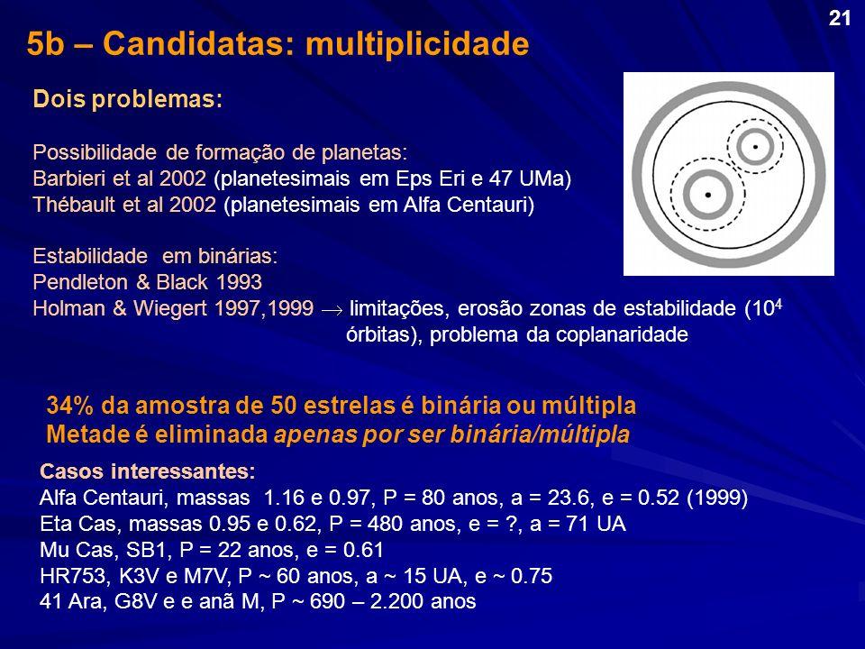 5b – Candidatas: multiplicidade 34% da amostra de 50 estrelas é binária ou múltipla Metade é eliminada apenas por ser binária/múltipla Dois problemas: