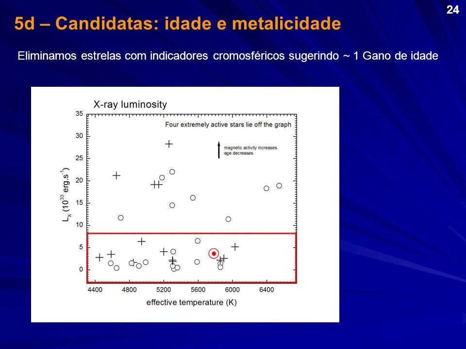 5d – Candidatas: idade e metalicidade Eliminamos estrelas com indicadores cromosféricos sugerindo ~ 1 Gano de idade 24