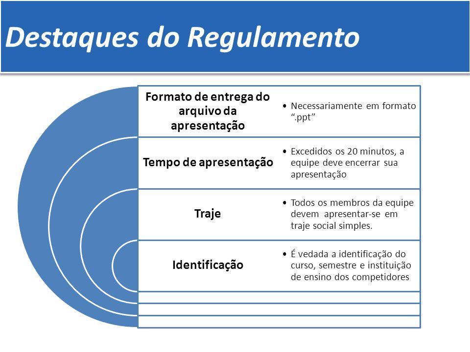 Destaques do Regulamento Formato de entrega do arquivo da apresentação Tempo de apresentação Traje Identificação Necessariamente em formato.ppt Excedi