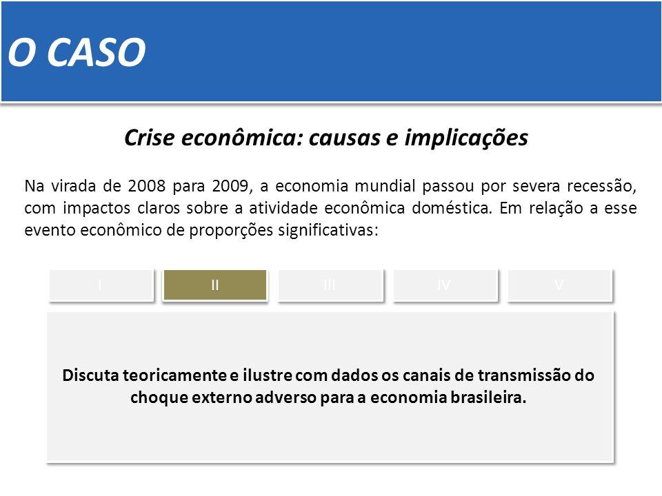 O CASO Crise econômica: causas e implicações Na virada de 2008 para 2009, a economia mundial passou por severa recessão, com impactos claros sobre a atividade econômica doméstica.
