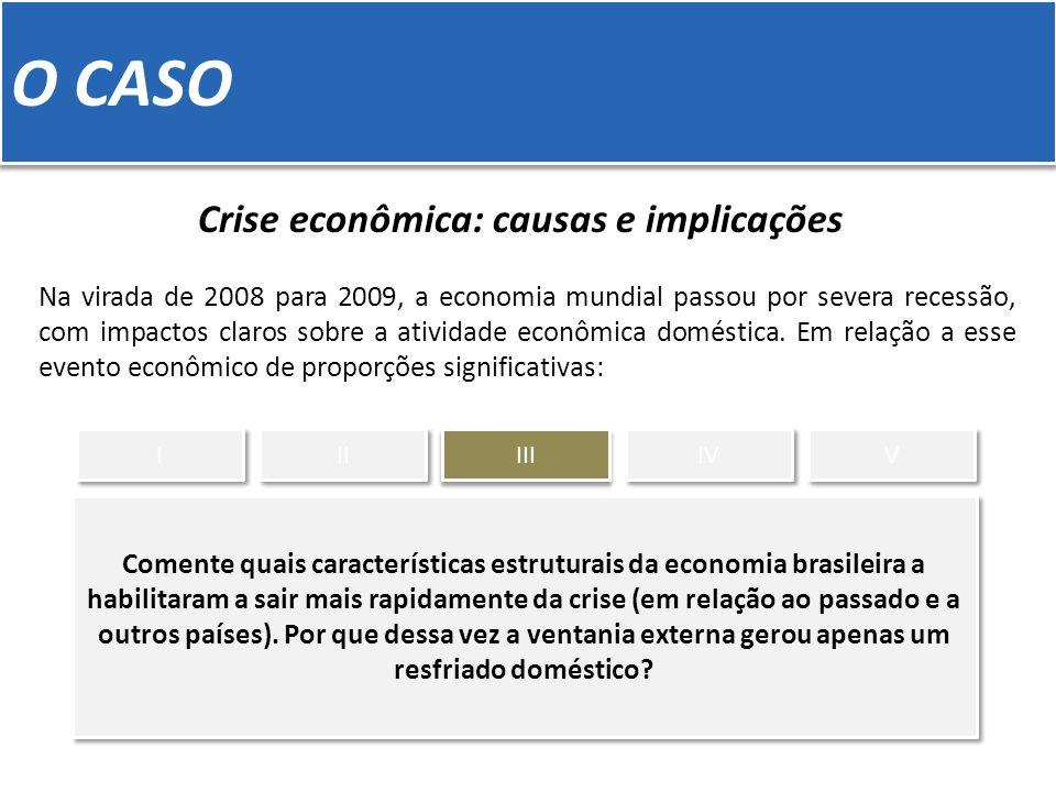O CASO Crise econômica: causas e implicações Na virada de 2008 para 2009, a economia mundial passou por severa recessão, com impactos claros sobre a a