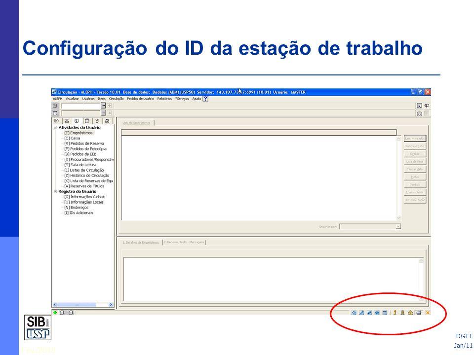 Fev./2010 Imprimir requisições de fotocópia na devolução = se estiver selecionada, o sistema imprimirá automaticamente as requisições dos pedidos de fotocópia feitos para o item devolvido Exibir mensagem: item não está emprestado = se estiver selecionada, o sistema exibirá uma mensagem quando você tentar devolver um item que não está emprestado Exibir nota de circulação = se estiver selecionada, a nota de circulação que foi cadastrada no registro de item (função de Itens) será mostrada quando o item for devolvido Exibir status de processamento do item = se estiver selecionada, o status de processamento do item será mostrado após a devolução ter sido feita DGTI Configuração de opções de devoluções Jan/11 DGTI
