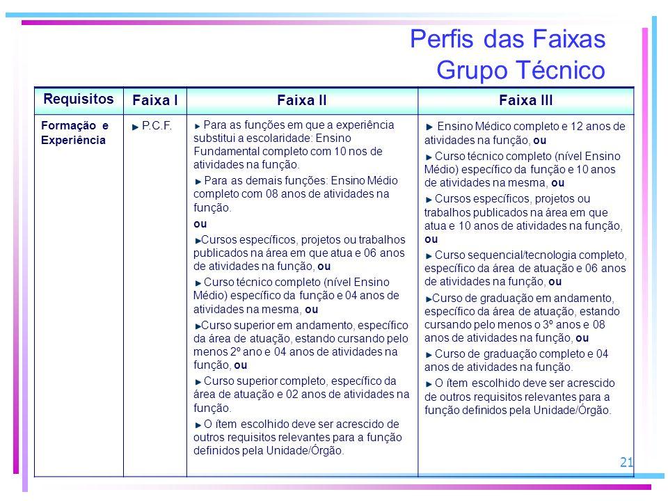 21 Perfis das Faixas Grupo Técnico Requisitos Faixa IFaixa IIFaixa III Formação e Experiência P.C.F.