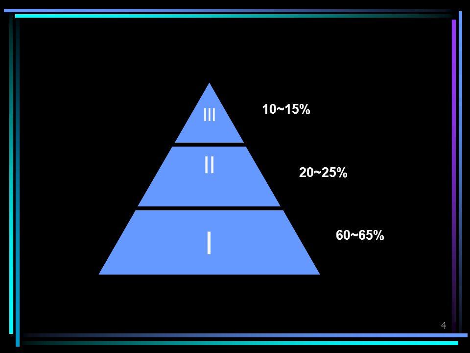 4 III II I 10~15% 20~25% 60~65%